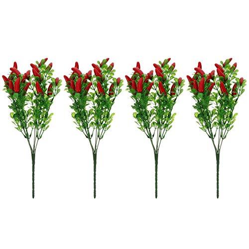 Garneck 4 szt. sztuczne kwiaty bukiet romantyczny sztuczny jedwab chili realistyczny kwiat aranżacje prezenty na dekoracje ślubne ozdoby stołu