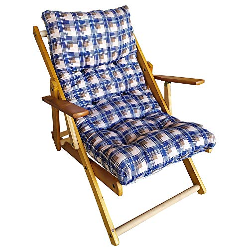 Poltrona Sedia Sdraio Relax 3 Posizioni in Legno Pieghevole Cuscino Imbottito H 100 CM Colore Come Foto (Blu Strike)
