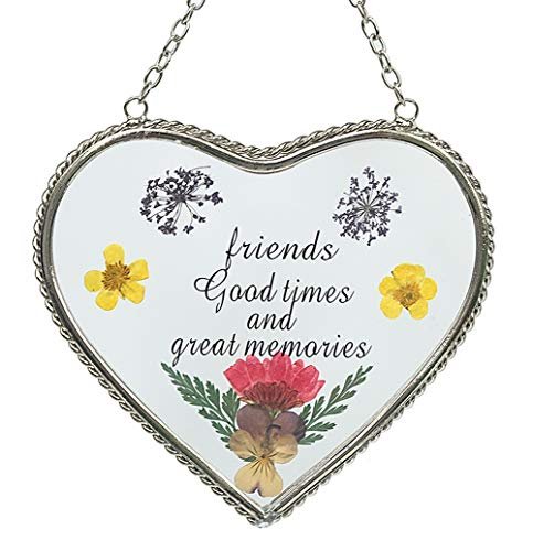 Friend Heart Suncatchers Stained Glass Suncatcher for Windows Friend Suncatcher with Pressed Flower Heart - Heart Suncatcher - Friend Gifts Gift for Friend's Day Friend`s for Birthdays Christmas