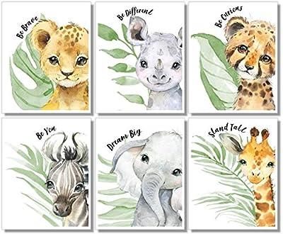 Baby Safari Animals Wall Art Prints - Nursery Decor - Set of 6-8x10 - Unframed - Watercolor