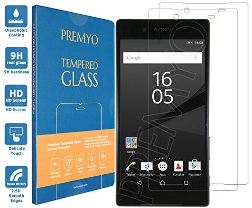 PREMYO 2 Piezas Cristal Templado Protector de Pantalla Compatible con Sony Xperia Z5 Dureza 9H Bordes 2,5D Sin Burbujas contra Arañazos