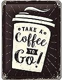 Nostalgic-Art Targa Vintage Coffee To Go – Idea Regalo per Amanti del caffè, in Metallo, Design Retro per Decorazione, 15 x 20 cm