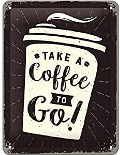 Nostalgic-Art Cartel de Chapa Retro Coffee To Go – Idea de Regalo para los Amantes del café, metálico, Diseño Vintage para decoración, 15 x 20 cm