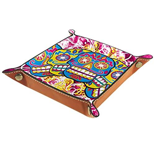 Yitian Bandeja de cuero PU joyería de cuero Catchall colorido cabeza cubierta para cambio joyería clave teléfono relojes dados elegancia suave cuero reciclable