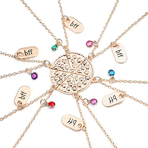 Baroco Womens Silver Tone Pizza Slice Rhinestone Best Friends Forever BFF Necklace Set for Friends Gift Unisex Set of 6 (Rose Gold)