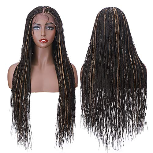 Braided Lace Front Braided Wigs With Baby Hair Lightweight Senegalese Micro Million Twist Braids Cornrow Synthetic Braid Wig for Black Women African 28'/28inch Brown With Blonde Highlights