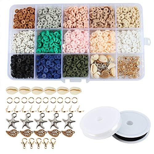 collares y joyas , 2600 cuentas planas de arcilla de polímero de 6 mm, cuentas de disco de vinilo hechas a mano, cuentas de disco planas redondas y sueltas para pulseras, pendientes