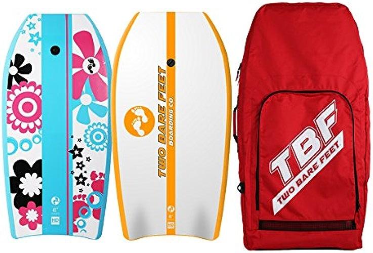 Two Bare Feet Deux Pieds nus 104,1cm Bodyboard Bundle 2x 41planches de bodyboard de votre choix + Premium double Sac de transport (Rouge) (104,1cm Fleurs (Aqua), 104,1cm d'antenne (Orange))