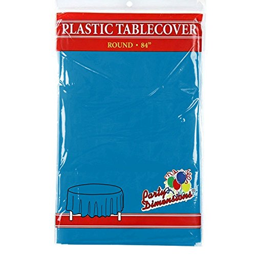 """Medium Blue Round Plastic Tablecloth - 4 Pack - Premium Quality Disposable Party Table Covers for Parties and Events - 84"""" - By Party Dimensions"""