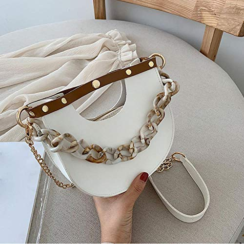 Zent Women Small Shouler Bag Tote PU Leather Evening Clutch Mini monederos y Bolsos Fashion Chain Crossbody Pack Ladies Hand Bag, Bolso Blanco
