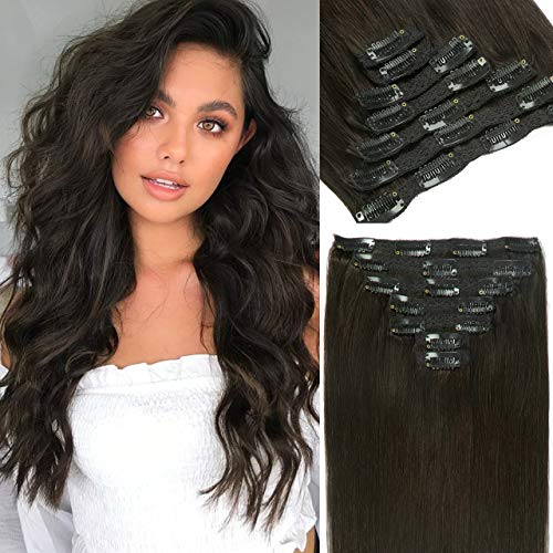 Lacer Clip in Hair Extensions Human Hair Double Weft Brazilian Hair Natural Black #1B Full Head 140g 7pcs Human Hair Clip in Extensions 20 Inch