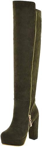 ZHRUI Bottes au Dessus Dessus Dessus du Genou Anti-dérapantes, épaisses et de Haute qualité (Couleuré   Armée Verte, Taille   3) c9b