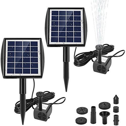 Ankway Solar Springbrunnenpumpe 2er Set, 2W Solar Wasserpumpe mit 7 Düsen, bürstenlose Wasserpumpe für Vogeltränken, Fischteiche, Gartenanlagen und Springbrunnen