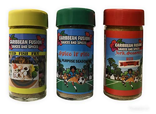 Caribbean Fusion - Spices and Seasonings Set -3pk bundle - Jerk Seasoning, Spiced Fish Fry and All-Purpose Seasoning