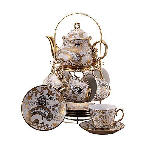 ufengke 13 Pezzi Set da tè Europeo in Stile Titanio, Bellissimo Fiori Dorati Servizio da tè in Ceramica Set da caffè con Staffa Metallica, per Regalo, La Famiglia E Ufficio