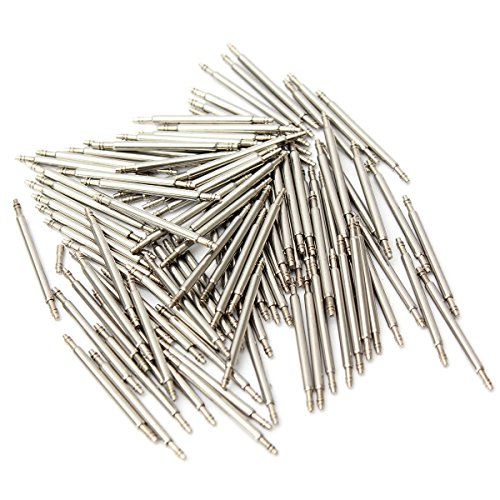 FamilyMall (TM) 100pcs 15mm Watch Band Spring bars strap Link pins orologiaio strumento in acciaio INOX, argento