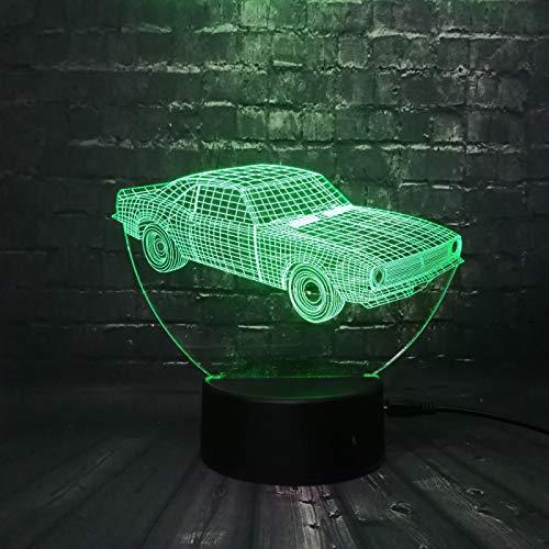 Coche Clásico 16 Colores Lámpara De Mesa, Luz De Noche Optica Nocturna Luz Ilusión Lámpara Decoración Adultos Cumpleaños Regalo Creativo Usb Iluminación Led Habitación Bebé Cuarto Óptica Control 3D Lá