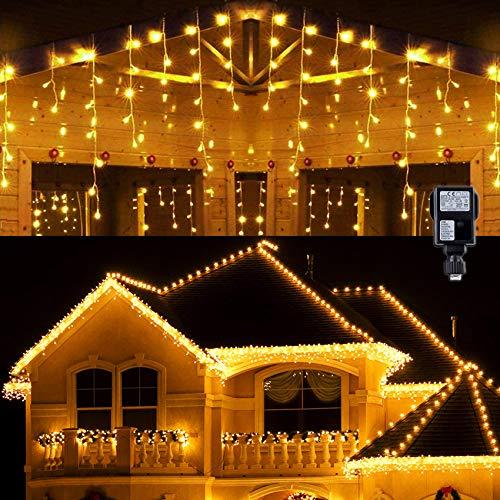 Hezbjiti 400 LED Icicle Lights, 10m 8 Modes with 75 Drops Curtain Fairy Light Extendable Christmas Icicle String Lights for Xmas Bedroom Patio Yard Garden Wedding Party Holiday Decoration (Warm White)