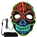 TGOOD Halloween Mask Scary Halloween Costume Purge LED Mask with EL Wire Light up, 3 Flashing-Modes and Soft Sponge for Halloween Cosplay Festival Party Carnival (NOT Include Batteries) White