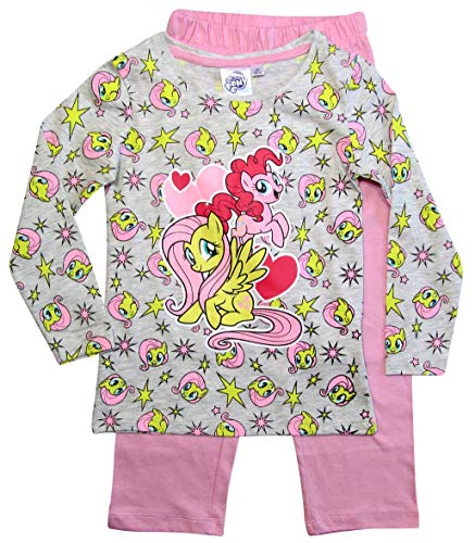 Pony My Little Schlafanzug Mädchen Lang Rundhalsausschnitt (Grau-Rosa, 98)