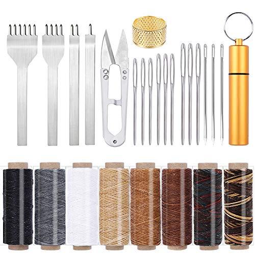 Set de costura de piel, 8 colores, hilo de piel con aguja de piel, ojos, agujas grandes, cincel, púas y otros accesorios para artesanía de cuero, coser a mano, encuadernar