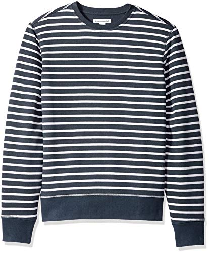 Amazon Essentials Men's Long-Sleeve Crewneck Fleece Sweatshirt, Navy Stripe, Medium