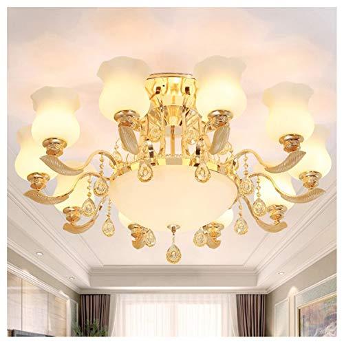 WLMGWRXB hanglamp van kristalglas van zink in Europese stijl, woonkamer, eetkamer, slaapkamer, studiolamp (met driekleurige LED-lamp, 12 watt)