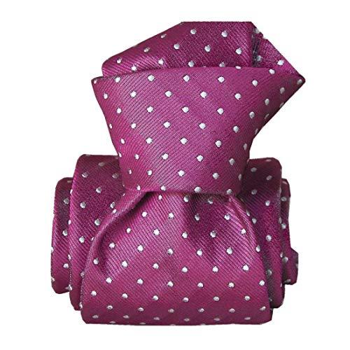 Segni et Disegni. Cravate classique. Ostri, Soie. Rose, Pois. Fabriqué en Italie.