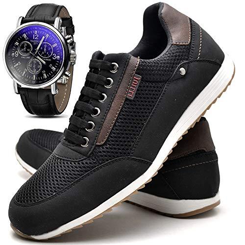 Sapatênis Sapato Casual Masculino Com Relógio JUILLI R1100DB Tamanho:42;cor:Preto;gênero:Masculino