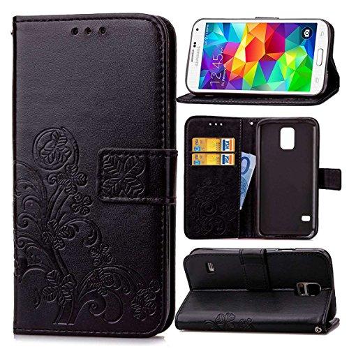 pinlu Funda para Samsung Galaxy S5 Mini Función de Plegado Flip Wallet Case Cover Carcasa Piel PU Billetera Soporte con Trébol de la Suerte Negro