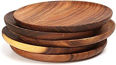 2 قطعة طبق خشبي مستدير مجموعة أكاسيا أطباق الكعك الخشبية صينية تقديم الحلوى طبق السوشي الخشب أدوات المائدة المائدة