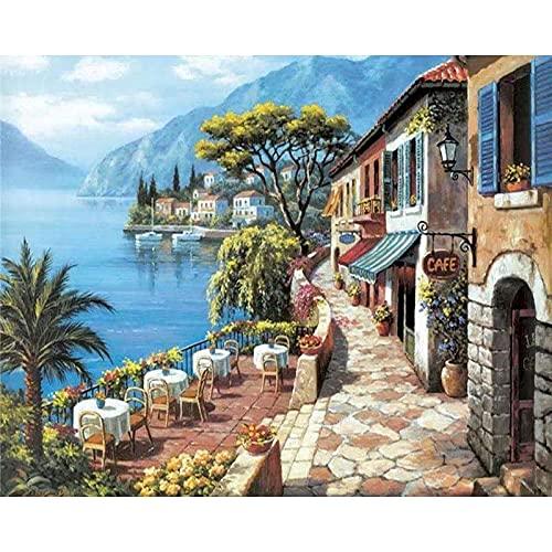 Pintura al óleo por números pintura por números sobre lienzo paisaje acuarela por números paisaje marino decoración del hogar W2 30x40cm