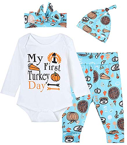 Baby Boys Girls My First Turkey Day Outfit Set Thanksgiving Long Sleeve Rompers