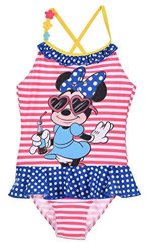 Maillot de Bain 1 pièce Enfant Fille Minnie Disney Rayé Rose/Blanc de 3 à 8ans (3 Ans)