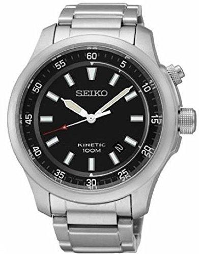 Seiko - SKA685P1 - Kinetic - Montre Homme - Kinetic Analogique - Cadran Noir - Bracelet Acier Gris