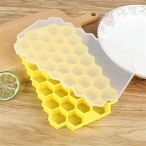 Cubo de hielo de vino de champán Sin BPA Honeycomb Cubito de hielo con tapa fiesta de helados for el whisky Cóctel Bebida fría 37 Cubos de hielo del silicón Bandeja Molde (Color : Yellow)