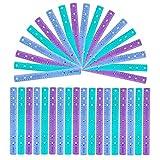 Regle 30 cm - Lot de 36 Règles Transparentes et Colorées - Regle Plastique Coloris Violet, Bleu, Vert