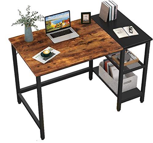 HOMIDEC Schreibtisch, Computertisch PC Tisch mit 3 Tier Bücherregal, Bürotisch Schreibtisch Holz Officetisch fürs Büro, Wohnzimmer, Home, Office, 100x60x75cm