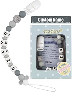 TYRY.HU Personalized Pacifier Clips Silicone Teether Toys Holder Chain for Baby Boys Girls Shower Gift (Grey)