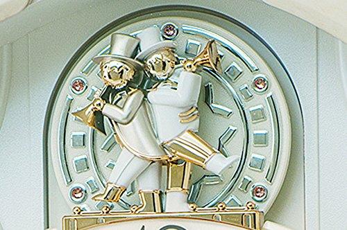 セイコークロック掛け時計電波アナログからくりトリプルセレクションメロディ回転飾りアイボリーマーブル模様RE576ASEIKO