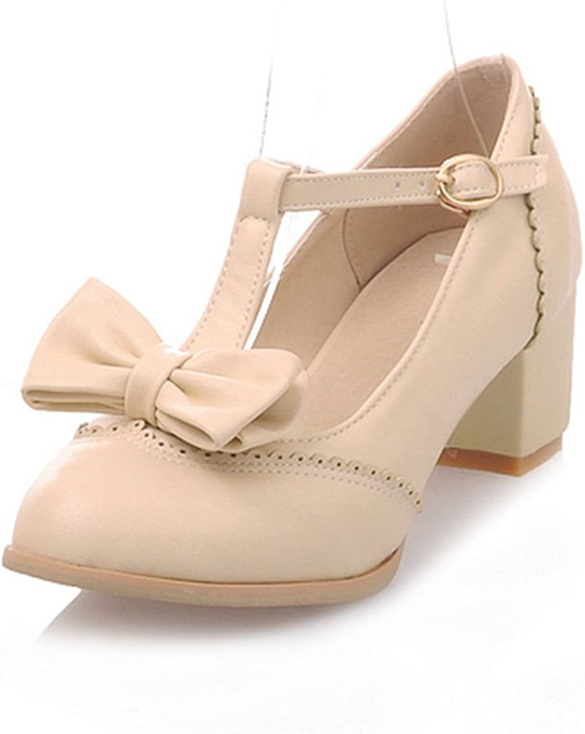 York Zhu Women Pumps, Fashion T-Strap Bow-tie Round Toe Square Heel Wedding shoes Beige
