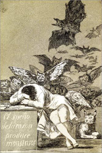 Posterlounge Cuadro de Madera 40 x 60 cm: El sueño de la razón Produce Monstruos (The Sleep of Reason Gives Birth to Monsters) de Francisco José de Goya