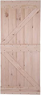 Bonnlo 36in x 84in Unfinished Knotty Pine Sliding Barn Door with Pre-Hollowed Floor Guide,Pre-Drilled Ready to Assemble and Paint/Stain (Not Include Hardware) (Arrow)