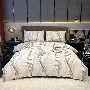 Wellboo Black Lines Bedding Covers Black and White Waves Sketch Duvet Cover Sets Cotton Twin Reversible White Thin Lines Quilt Covers Men Women Adult Dorm Quilts Soft Health Durable with 2 Pillowcases