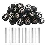 EUDAX 50pcs Plastic Roll 2mm Dia Shaft Toys Wheel and 25Pcs STEM Shaft Round Rod Axles for DIY Toy RC Car Truck Boat Helicopter Model Part