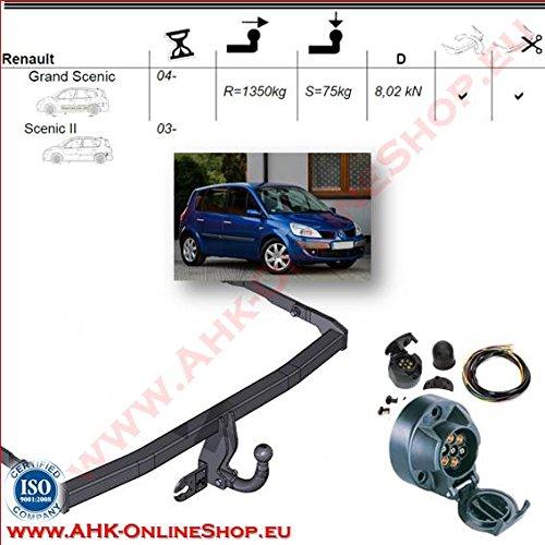 ATTELAGE avec faisceau 7 broches | Renault Grand Scenic II de 2004- / crochet «col de cygne» démontable avec outils