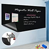 ZHIDIAN Magnetic Chalkboard Contact Paper, 36' x 24', Self Adhesive Magnetic Blackboard Wallpaper, Chalk Board Wall Sticker, Magnets Wall Board with 2 Chalks and 6 Magnets