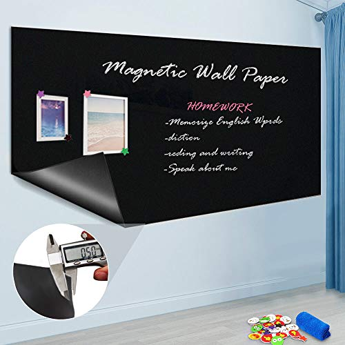 """ZHIDIAN Magnetic Chalkboard Contact Paper, 36"""" x 24"""", Self Adhesive Magnetic Blackboard Wallpaper, Chalk Board Wall Sticker, Magnets Wall Board with 2 Chalks and 6 Magnets"""