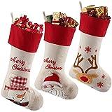 LessMo 3 Piezas de Medias de Navidad, calcetín Grande, calcetín de Navidad Personalizado, Bolsa de calcetín para niños, Regalo, Decoraciones para Fiestas de Navidad (1)