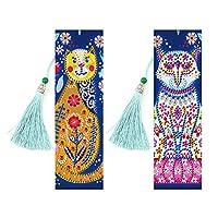 bpueb 2pcs 5D DIYダイヤモンドペイントブックマーク、タッセル付きホームブック装飾用刺繍ブックマーク、ギフト(C)